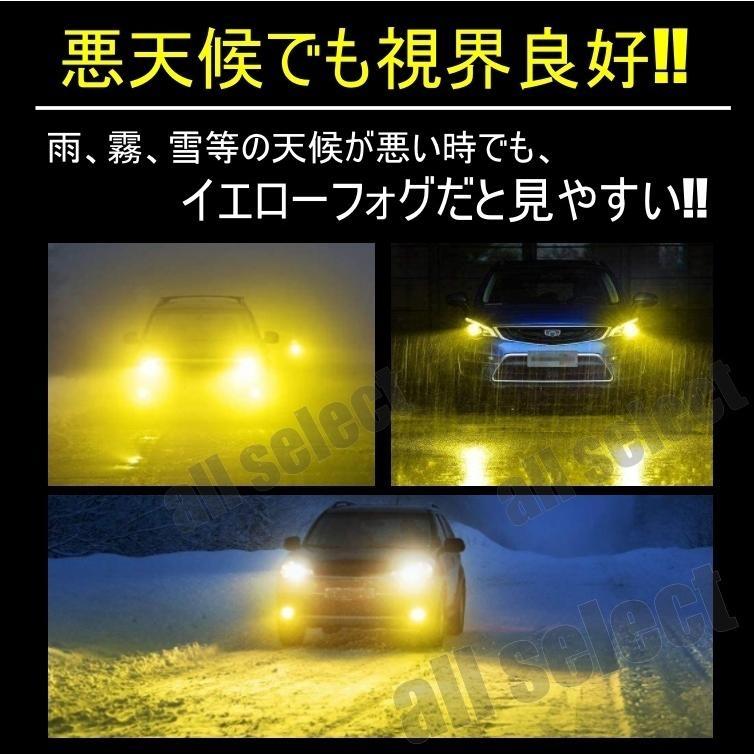 高輝度 LEDヘッドライト LEDフォグランプ H8/H9/H11/H16 HB3 HB4 24000lm 3000K イエロー 2本 車検対応 ポン付け LEDバルブ all-select 07