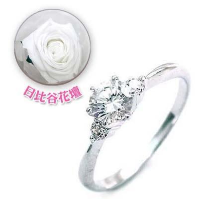 婚約指輪ダイヤモンド プラチナエンゲージリング4月誕生石ダイヤモンド 日比谷花壇誕生色バラ付【今だけ代引手数料無料】