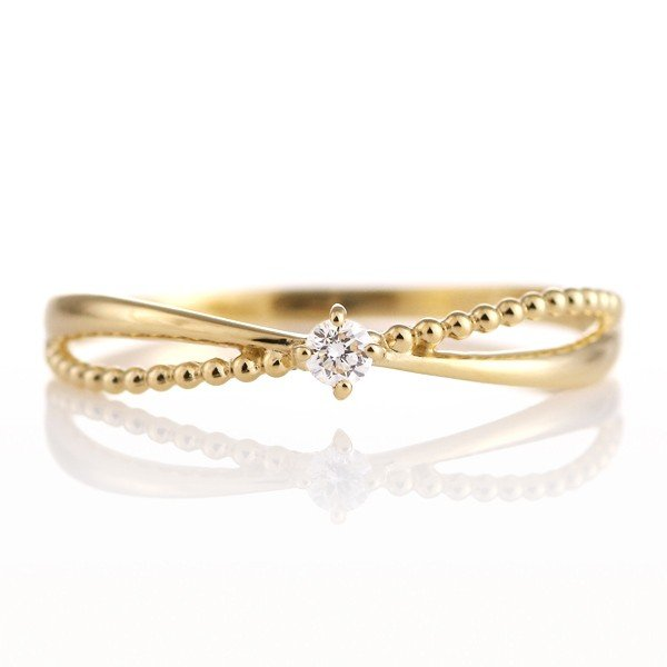 優先配送 リング 指輪 18金 ダイヤモンド ミル打ち ウエーブ レディース セール, FantasyDoll e654fa67