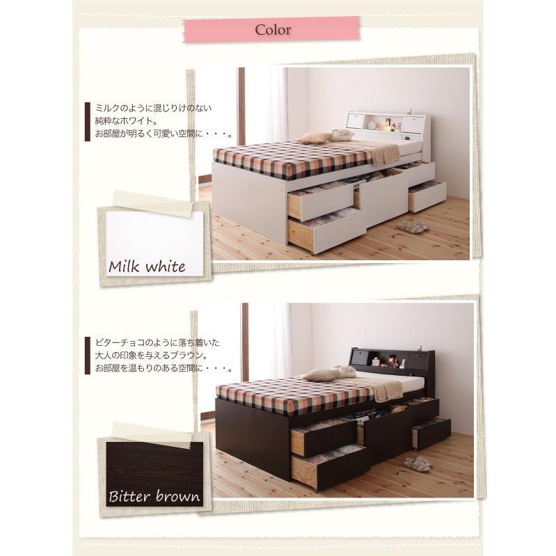 ベッド ダブル チェストベッド 照明・ 三つ折りポケットコイルマットレス付き|alla-moda|15