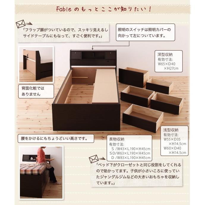 ベッド ダブル チェストベッド 照明・ 三つ折りポケットコイルマットレス付き|alla-moda|16