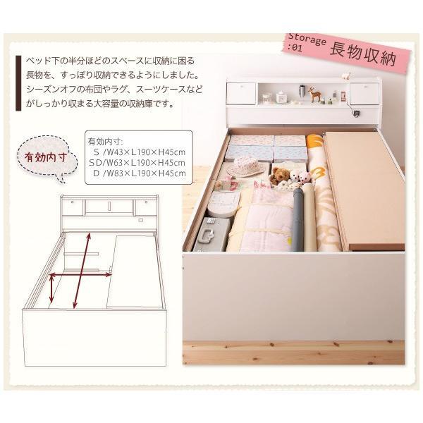 ベッド ダブル チェストベッド 照明・ 三つ折りポケットコイルマットレス付き|alla-moda|05