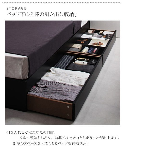 ベッド ベット 収納 セミダブル スタンダードポケットコイルマットレス付き alla-moda 08