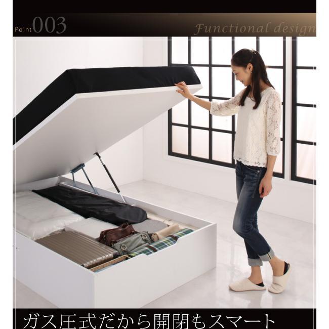 ベッドフレームのみ ガス圧ベッド 跳ね上げ 収納 セミダブル 縦開き 深さレギュラー お客様組立|alla-moda|08
