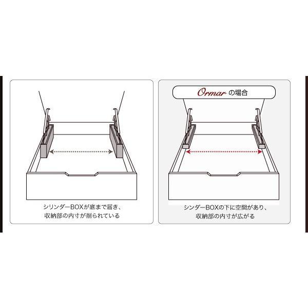 ガス圧ベッド 跳ね上げ シングル ボンネルコイルマットレスハード付き 縦開き 深さ ラージ 組立設置付|alla-moda|15