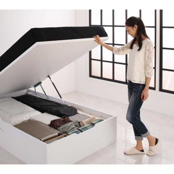 ベッドフレームのみ ベッド 跳ね上げ セミダブル ガス圧 収納 縦開き 深さ レギュラー 組立設置付 alla-moda 18