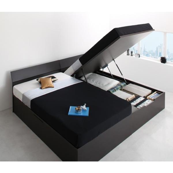 ベッドフレームのみ ベッド 跳ね上げ セミダブル ガス圧 収納 縦開き 深さ レギュラー 組立設置付 alla-moda 21