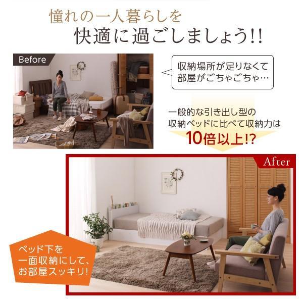 シングルベッド 大容量 ベッド 跳ね上げ ポケットコイル 横開き 深さラージ 組立設置付|alla-moda|09