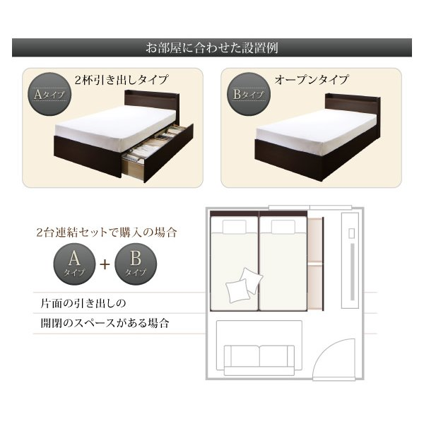 連結 すのこベッド 収納 スタンダードポケットルコイル Bタイプ シングル 組立設置付|alla-moda|11