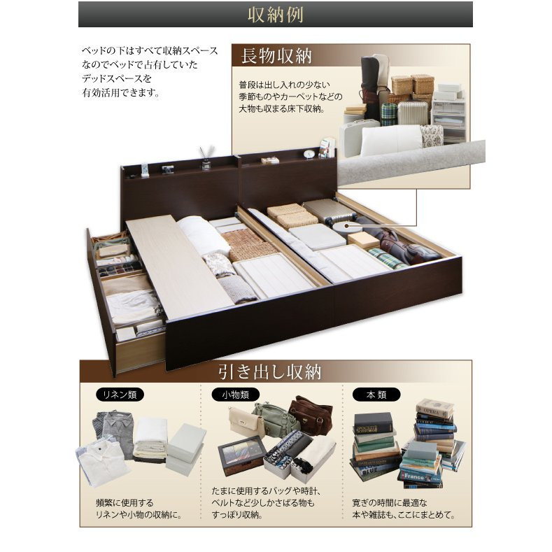 連結 すのこベッド 収納 スタンダードポケットルコイル Bタイプ セミダブル 組立設置付|alla-moda|07