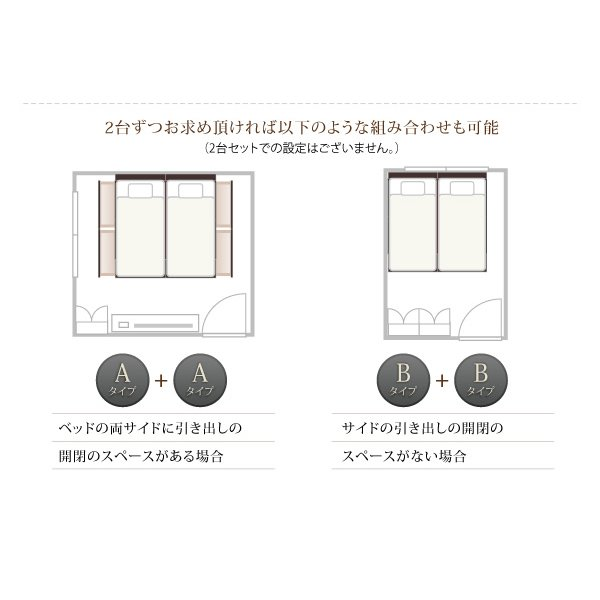 連結 すのこベッド 収納 スタンダードポケットルコイル A+Bタイプ ワイドK200 組立設置付|alla-moda|12