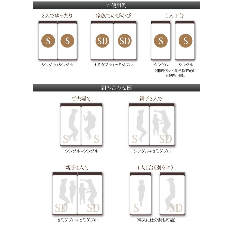 セミダブル ベッド 連結 収納 ポケットコイルマットレスレギュラー付き Aタイプ 組立設置付|alla-moda|10