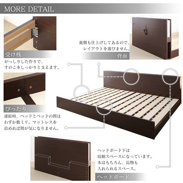 ベッド ダブル 組立設置付 ファミリーベッド 薄型抗菌国産ポケットコイルマットレス付き 高さ調整|alla-moda|13