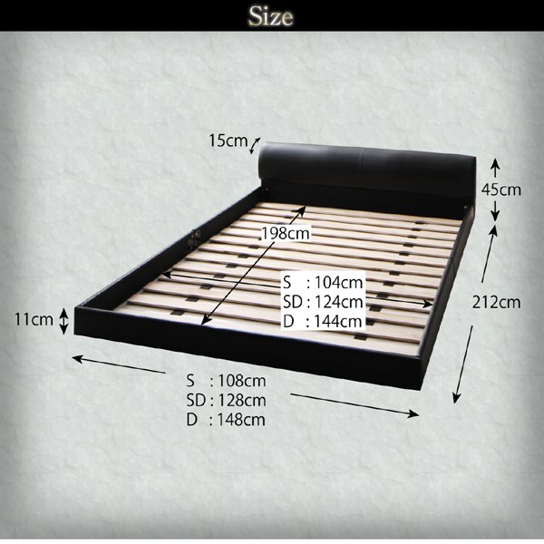 ベッド ダブル レザーフロアベッド フランスベッド マルチラススーパースプリングマットレス付き|alla-moda|14