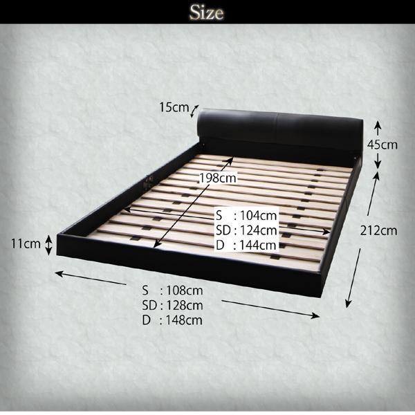 ベッド ダブル レザーフロアベッド フランスベッド 羊毛入りゼルトスプリングマットレス付き|alla-moda|14