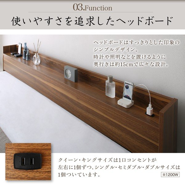 ベッド ダブル 大型フロアベッド プレミアムポケットコイル|alla-moda|08