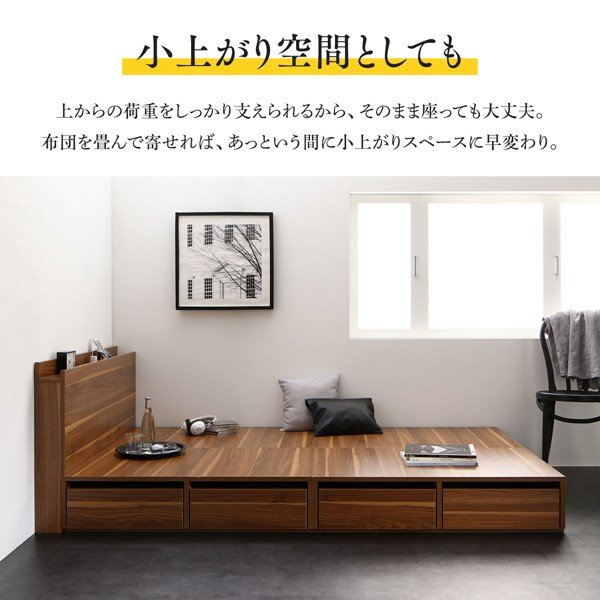 ベッド 収納 セミダブル スタンダードボンネルコイル 引き出しなし 小上がり alla-moda 10