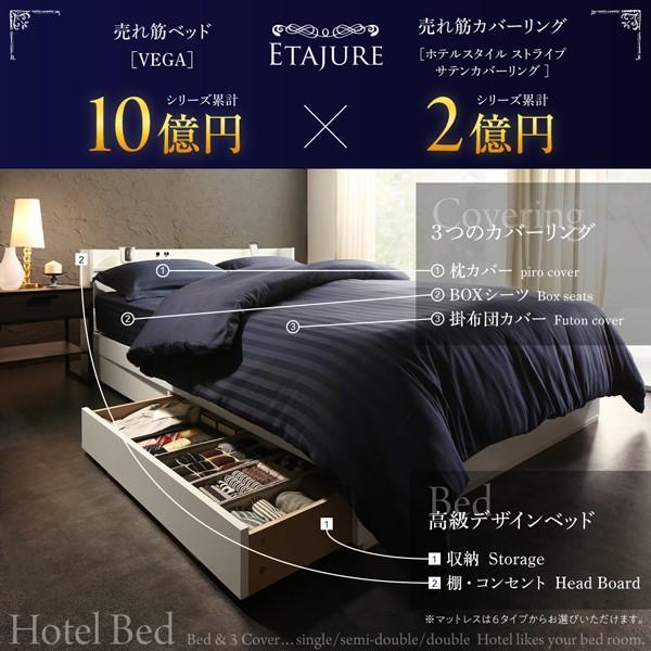 ベッドフレームのみ ベッド セミダブル ボックスシーツ付 セット|alla-moda|05