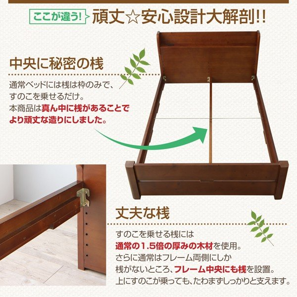 シングルベッド スタンダードポケットコイル シングル 高さ調節 天然木すのこベッド|alla-moda|06