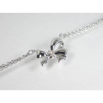 K10WG ホワイトゴールドダイヤモンドリボン ブレスレット|alljewelry