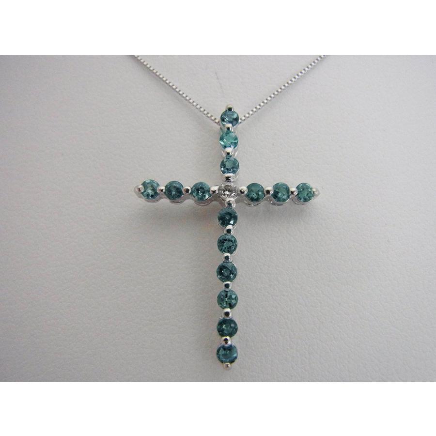 天然 アレキサンドライト 0.60CT クロスモチーフ18KWG ダイヤモンドペンダントネックレス【誕生石6月】|alljewelry