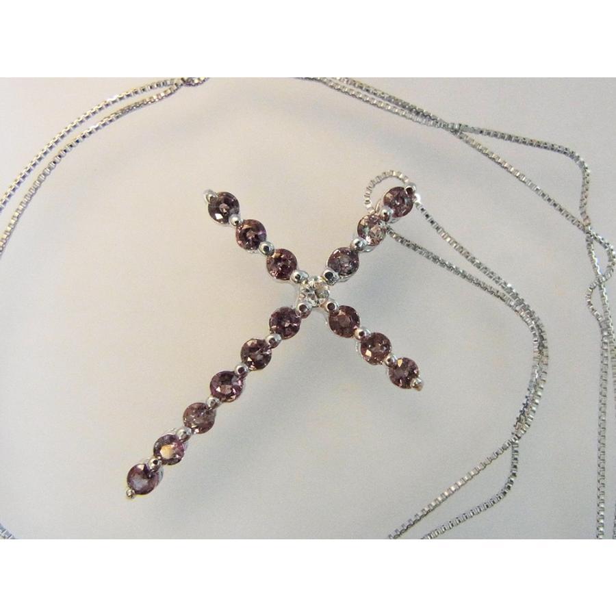 天然 アレキサンドライト 0.60CT クロスモチーフ18KWG ダイヤモンドペンダントネックレス【誕生石6月】|alljewelry|05