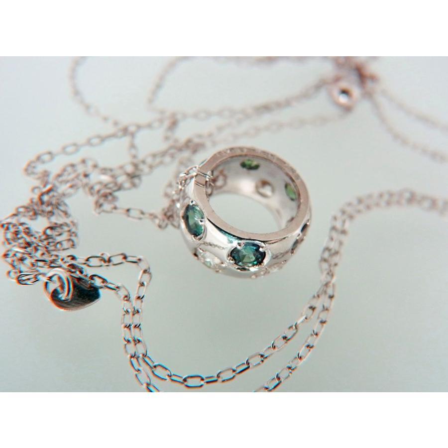 天然 アレキサンドライト ダイヤモンド ホワイトゴールド ラウンド リング ネックレス【誕生石6月】 alljewelry
