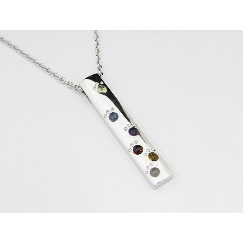 六猫足彩(無病息災)ねこの肉球モチーフ マルチカラーK18WG ペンダント ネックレス プレートバータイプ 【送料無料】|alljewelry