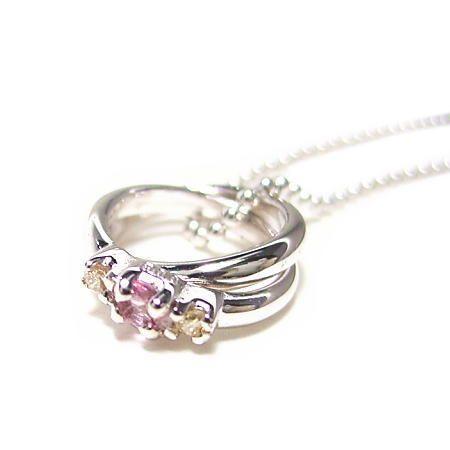 天然 ダイヤ×Pトルマリン2連 リング トップ ネックレス 【誕生石 10月】|alljewelry
