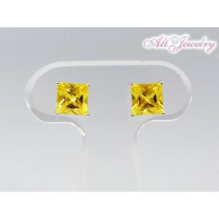 プリンセスカットゴールデンイエロー CZダイヤ(キュービック・ジルコニア) ピアス【即納】 alljewelry