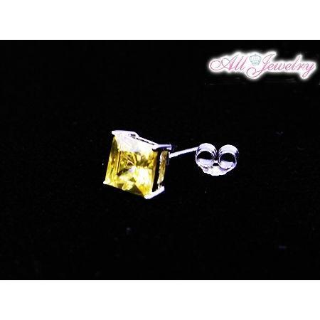 プリンセスカットゴールデンイエロー CZダイヤ(キュービック・ジルコニア) ピアス【即納】 alljewelry 04