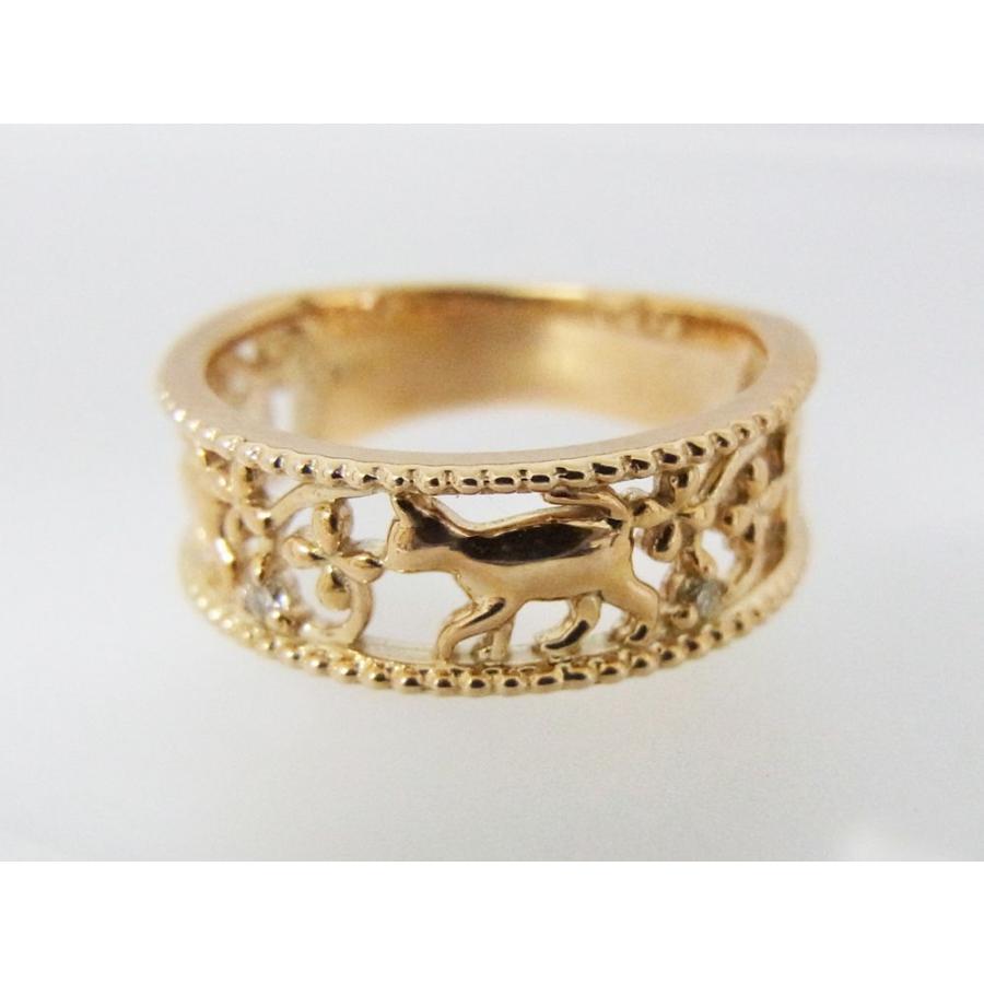 ネコモチーフ ピンキーリング ねこフラワーダイヤモンド alljewelry