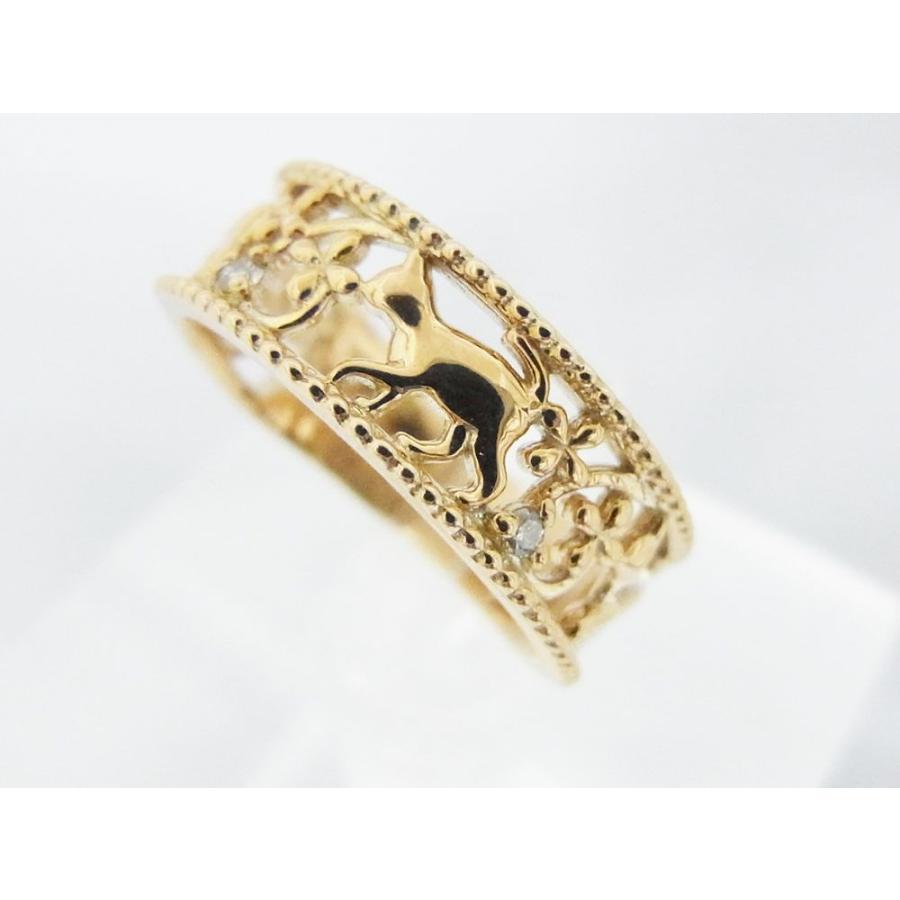 ネコモチーフ ピンキーリング ねこフラワーダイヤモンド alljewelry 03