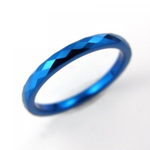 タングステン リング 2.0mm幅 2列カット ブルー【即納】|alljewelry