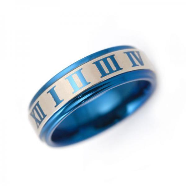 タングステン リング ローマ数字 6.0mm ブルー【即納】|alljewelry