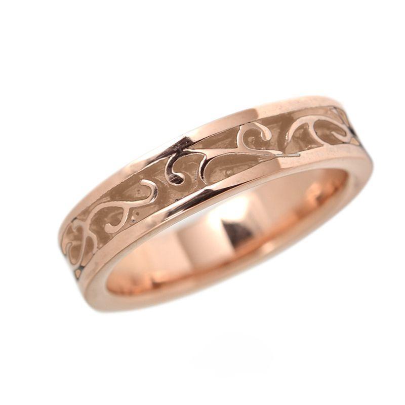 ステンレス 5mm幅平打アラベスクリング ピンク|alljewelry