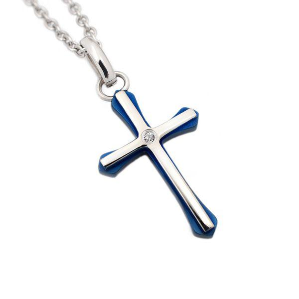 ステンレス CZ入カラークロス 小 ペンダントトップ ブルー|alljewelry
