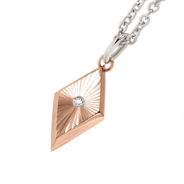 ステンレス CZシャインカットPDT 菱形 ピンク【即納】 alljewelry