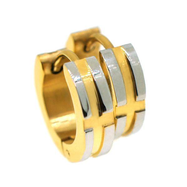 ステンレス 4mm幅クロスラインスナップピアス ゴールド alljewelry