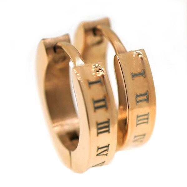 ステンレス 3mm幅逆甲ローマ数字スナップピアス ピンク|alljewelry
