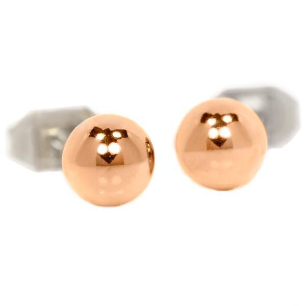 ステンレス 5mmボール スタッドピアス ピンクゴールド【即納】|alljewelry