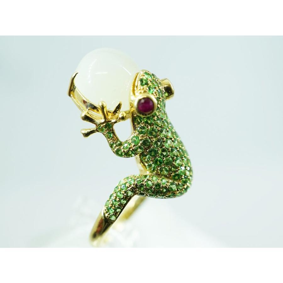 【人気ショップが最安値挑戦!】 K18 カエルのグリーンガーネットリング, アトム興産 31c82337