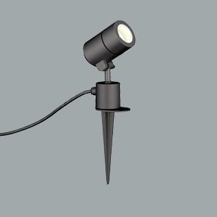 ☆ODELIC LEDエクステリアスポットライト スパイク式 プラグ付 ミニクリプトンレフ形 電球色 白熱灯50W相当(ランプ付) 防雨型 OG254573LD