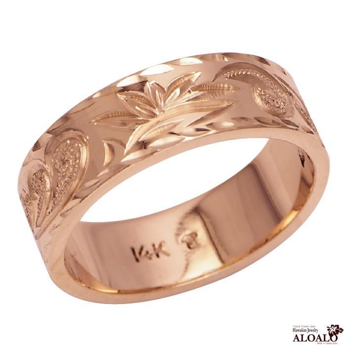 超高品質で人気の ハワイアンジュエリー リング 指輪 結婚指輪 オーダーメイド 重厚な立体感2mm厚 幅6mm 14k ピンクゴールド フラットリング, 信玄十穀屋 56c17b2e