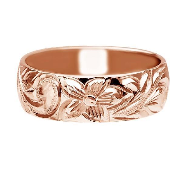 高価値セリー ハワイアンジュエリー リング 指輪 結婚指輪 オーダーメイド しっかりした1.75mm厚 幅6mm 14k ピンクゴールド バレルリング, 西茨城郡 1cd32a51