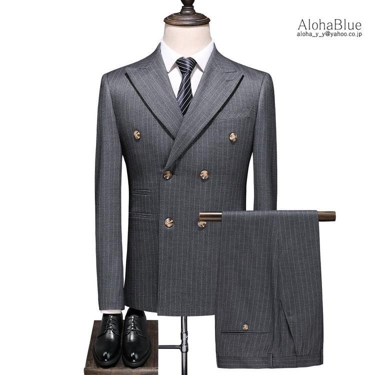ダブルスーツ メンズ 3ピーススーツ 6つボタン スリーピース スリーピー ビジネススーツ ストライプ柄 細身 スーツ 通勤 紳士 aloha0118