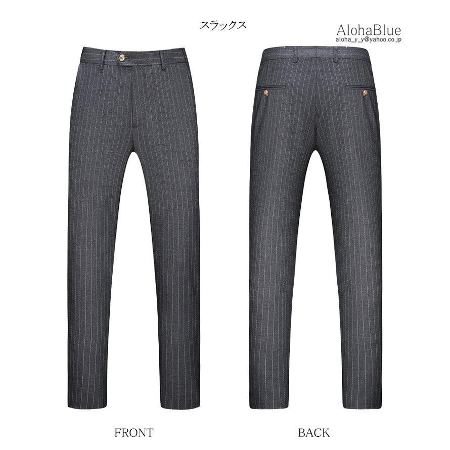 ダブルスーツ メンズ 3ピーススーツ 6つボタン スリーピース スリーピー ビジネススーツ ストライプ柄 細身 スーツ 通勤 紳士 aloha0118 12