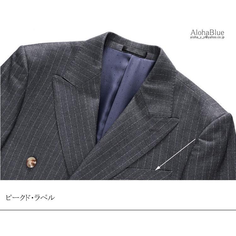 ダブルスーツ メンズ 3ピーススーツ 6つボタン スリーピース スリーピー ビジネススーツ ストライプ柄 細身 スーツ 通勤 紳士 aloha0118 14