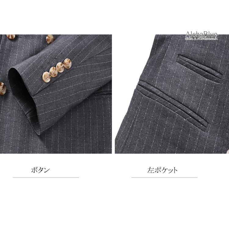 ダブルスーツ メンズ 3ピーススーツ 6つボタン スリーピース スリーピー ビジネススーツ ストライプ柄 細身 スーツ 通勤 紳士 aloha0118 15