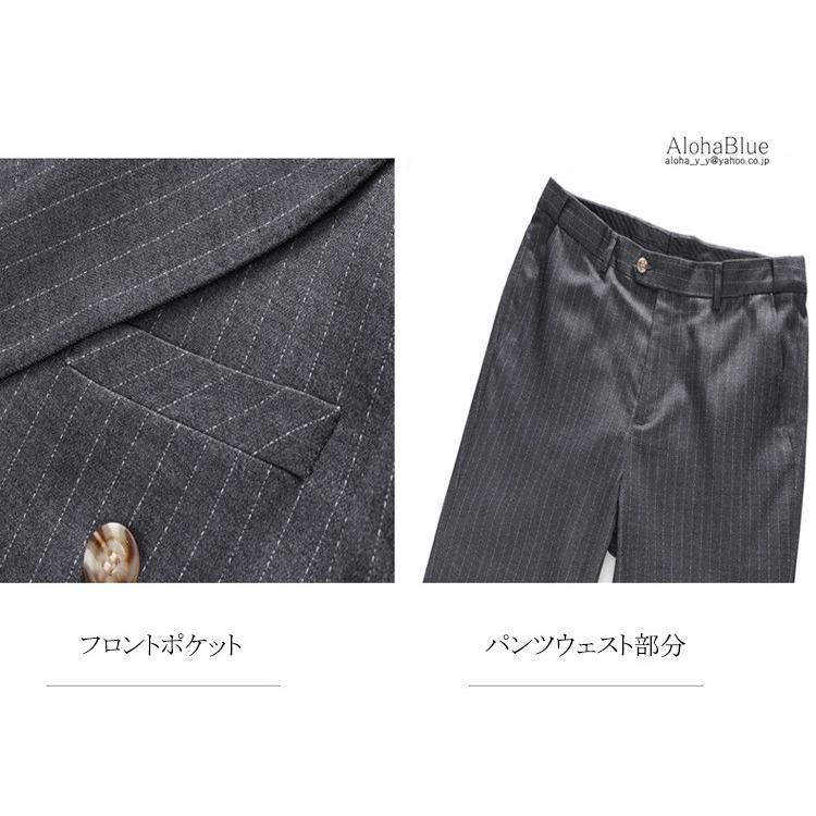 ダブルスーツ メンズ 3ピーススーツ 6つボタン スリーピース スリーピー ビジネススーツ ストライプ柄 細身 スーツ 通勤 紳士 aloha0118 16